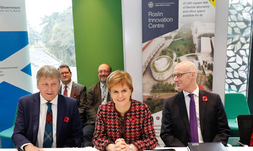 First Minister Nicola Sturgeon with Cabinet members at Roslin Innovation Centre - credit Scottish Government
