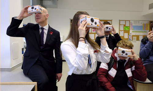 John Swinney with pupils at official opening of Newbattle High School, a Digital Centre of Excellence
