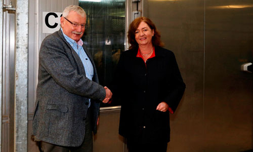 SRUC Principal and Chief Executive, Professor Wayne Powell and Professor Julie Fitzpatrick, Scientific Director of the Moredun Research Institute and Chief Executive of the Moredun Foundation